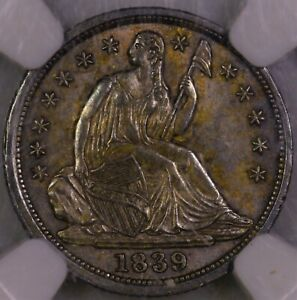 Click now to see the BUY IT NOW Price! 1839 SEATED LIBERTY HALF DIME NICELY TONED NGC MS 62