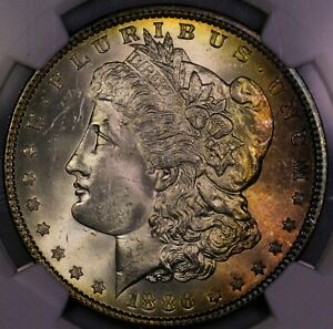 Click now to see the BUY IT NOW Price! 1886 P MORGAN SILVER DOLLAR ATTRACTIVE OBVERSE AND REVERSE TONING MS 63 NGC