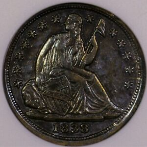 Click now to see the BUY IT NOW Price! 1838 SEATED LIBERTY HALF DIME AU 50 OLD ANACS HOLDER NICE COLOR