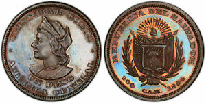 Click now to see the BUY IT NOW Price! EL SALVADOR. 1894 CU PATTERN PESO. PCGS SP63BN KM PN46.