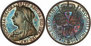 Click now to see the BUY IT NOW Price! BRITAIN VICTORIA 1893 AR FLORIN TWO SHILLINGS. PCGS PR66 S 3939 SUPERBLY TONED.