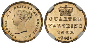 Click now to see the BUY IT NOW Price! BRITAIN VICTORIA 1868 CU NI PATTERN QUARTER FARTHING NGC PR65 S 3953; PECK 1615