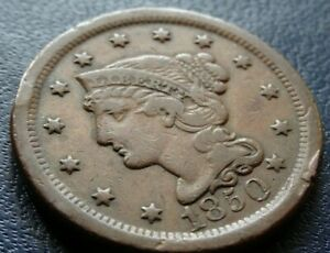 NICE 1850 BRAIDED HAIR LARGE CENT COIN OLD 1C COPPER PENNY COLLECTION CUD ERROR?
