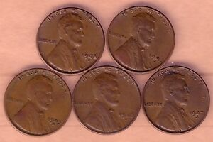 LOT OF 5 EARLY LINCOLN CENTS 1945D 1946D 1947D 1948D 1949D.