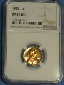 1951 PROOF LINCOLN CENT NGC PF 66 RD  89 003