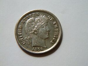WOW  1898 P BU SILVER BARBER DIME NICE  HIGH GRADE  COIN FOR ANY COLLECTION