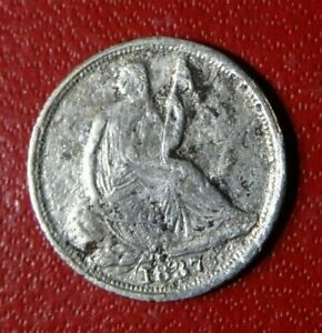 SEMI KEY 1837 LARGE DATE SEATED LIBERTY HALF DIME COIN SILVER P MINT 1ST YEAR