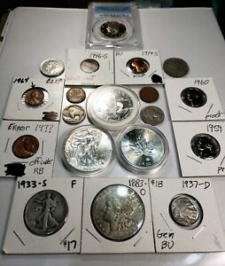 JUNK DRAWER LOT   SILVER   ASE MAPLE LEAF  & MORGAN 1933 S WLH ERROR PCGS