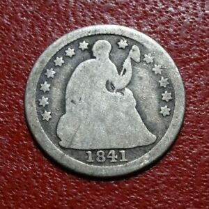 1841 SEATED LIBERTY HALF DIME COIN OLD 90  SILVER US MONEY COLLECTION