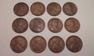LINCOLN WHEAT CENTS 1917 D  1918 P D S  1919 P 1919 D  1928 S LOT OF 12.
