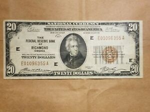 Click now to see the BUY IT NOW Price! 1929 $20 FEDERAL RESERVE BANK NOTE RICHMOND FRBN NATIONAL FR 1870 E FINE