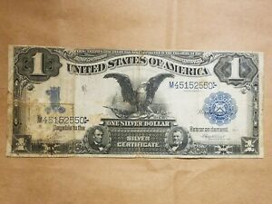 Click now to see the BUY IT NOW Price! FR. 228 $1 1899 SILVER CERTIFICATE BLACK EAGLE VERNON TREAT LARGE SIZE NOTE BILL