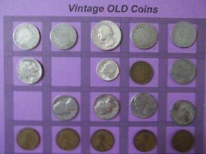 ESTATE LOT OF OLD COINS 50 TO 125 YEARS OLD WITH SOME SILVER  16 COINS   OC66