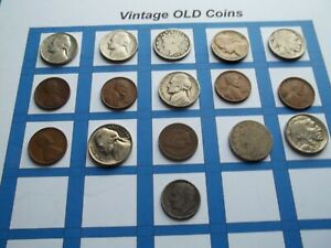 ESTATE LOT OF OLD COINS 50 TO 125 YEARS OLD WITH SOME SILVER  16 COINS   OC34