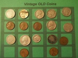 ESTATE LOT OF OLD COINS 50 TO 125 YEARS OLD WITH SOME SILVER  16 COINS   OC71