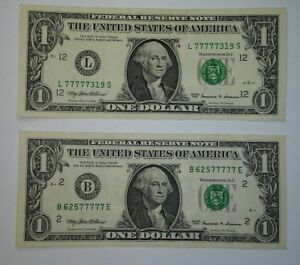 LOT OF 2 $1 ONE DOLLAR BILL NOTE FANCY SERIAL NUMBERS 77777319 AND 62577777