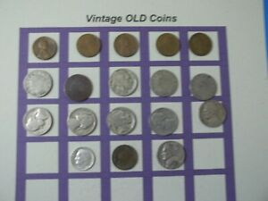 ESTATE LOT OF OLD COINS 50 TO 125 YEARS OLD WITH SOME SILVER  18 COINS   OC53