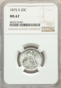 Click now to see the BUY IT NOW Price! 1875 S 20C SAN FRANCISCO GEM SEATED LIBERTY TWENTY CENT PIECE NGC MS67