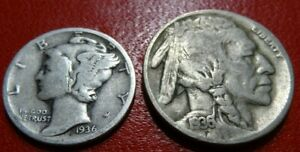 OLD 1936 COIN LOT 36 D BUFFALO NICKEL 90  SILVER MERCURY DIME 5C 10C COLLECTION