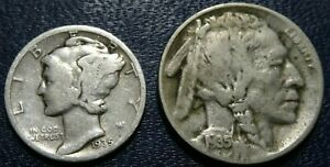 OLD 1935 COIN LOT 35 D BUFFALO NICKEL 35 S SILVER MERCURY DIME 5C 10C COLLECTION