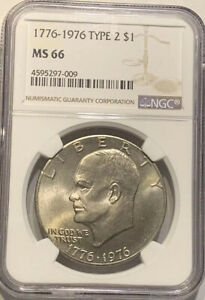 1976 P MS66 TYPE 2 EISENHOWER CLAD IKE DOLLAR NGC GRADED BU CERTIFIED GEM