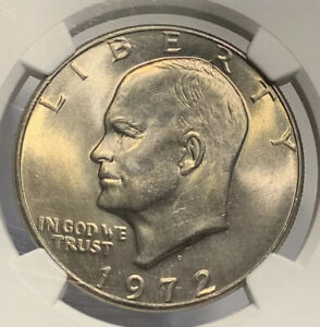 1972 D MS66 EISENHOWER CLAD IKE DOLLAR NGC GRADED  BU CERTIFIED GEM NICE LUSTER