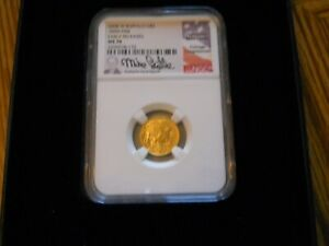 2008W BURNISHED $5 GOLD BUFFALO EARLY RELEASE MS 70 MIKE CASTLE SIGNATURE