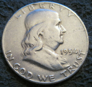 AS SHOWN   1954 D FRANKLIN HALF DOLLAR // 90  SILVER // MC 522