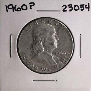 1960 P FRANKLIN SILVER HALF DOLLAR 23054 GOOD NATURAL PATINA