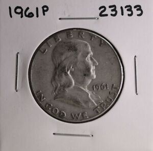 1961 P FRANKLIN SILVER HALF DOLLAR 23133 GOOD NATURAL PATINA