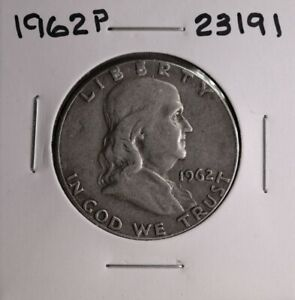 1962 P FRANKLIN SILVER HALF DOLLAR 23191 GOOD NATURAL PATINA