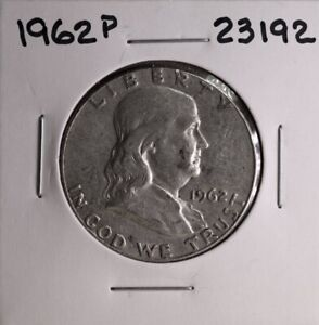 1962 P FRANKLIN SILVER HALF DOLLAR 23192 GOOD NATURAL PATINA