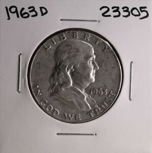 1963 D FRANKLIN SILVER HALF DOLLAR 23305 GOOD NATURAL PATINA
