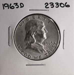 1963 D FRANKLIN SILVER HALF DOLLAR 23306 GOOD NATURAL PATINA