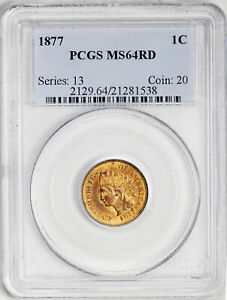 Click now to see the BUY IT NOW Price! 1877 INDIAN BRONZE 1C PCGS MS 64 RD
