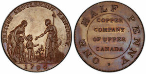 Click now to see the BUY IT NOW Price! CANADA. UPPER CANADA. 1796 BRONZED CU MYDDELTON TOKEN MULE. PCGS PR65BN