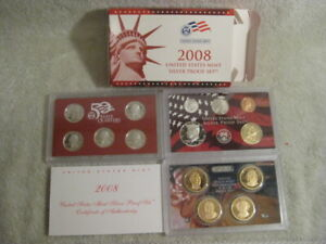 2008 S US MINT SILVER PROOF 14 COIN SET OGP WITH COA
