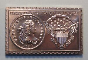 1798 UNITED STATES DRAPED BUST DIME NUMISTAMP MEDAL COIN 1973 REED LIMITED