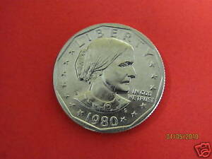 1980 S   BU MINT STATE  SUSAN B ANTHONY   US ONE DOLLAR COIN