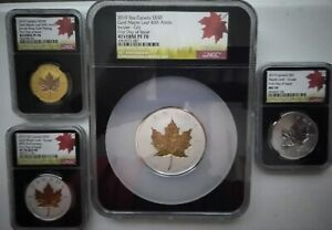 Click now to see the BUY IT NOW Price! 4 PC CANADA  2019 GOLD & SILVER MAPLE INCUSE 3 NGC REV PF70   1 MS70. ALL FDI