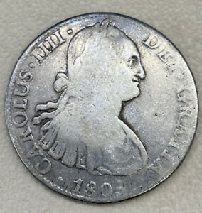 1805 MO TH MEXICO 8 REALES BUST WORLD FOREIGN SILVER COIN CROWN U.S. COLONIAL $1