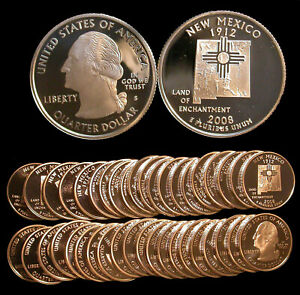 ROLL OF 40 2008 S PROOF NEW MEXICO 90  SILVER QUARTERS