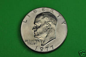1977 D BRILLIANT UNCIRCULATED EISENHOWER US ONE DOLLAR COIN