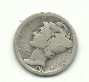 A NICE VINTAGE 1926 D MERCURY SILVER DIME OLD US COIN FEB561