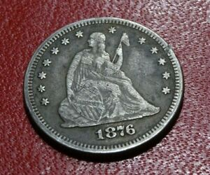 WELL DETAILED 1876 SEATED LIBERTY QUARTER DOLLAR COIN OLD SILVER P MINT 25C 2