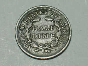 1855 P OFFSET STRIKE ERROR ON REVERSE SILVER SEATED LIBERTY HALF DIME F TO VF