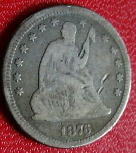 1876 SEATED LIBERTY QUARTER DOLLAR COIN OLD 90  SILVER P MINT 25C COLLECTION