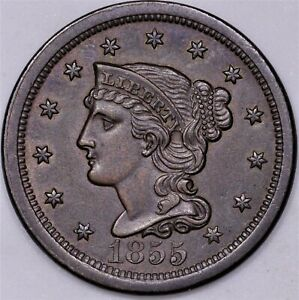 Click now to see the BUY IT NOW Price! 1855 LARGE CENT UNC BROWN EXCELLENT STRIKE