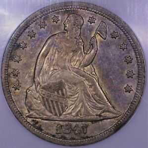 Click now to see the BUY IT NOW Price! 1847 SEATED LIBERTY SILVER DOLLAR NGC AU 55 NICE ORIGINAL SKIN