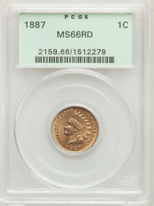 1887 1C INDIAN HEAD ONE CENT PCGS MS66 RD OGH OLD GREEN HOLDER